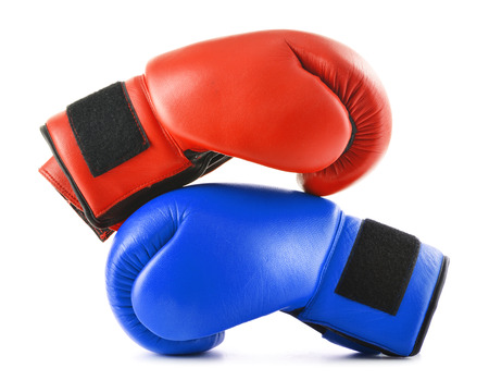 prevalence: Two leather boxing gloves isolated on white.