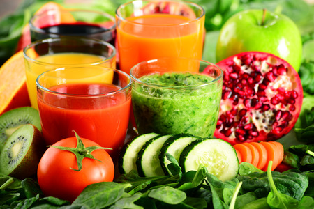 natural juices: Glasses of fresh organic vegetable and fruit juices. Detox diet.
