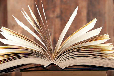 lexicon: Composition with hardcover book in the library Stock Photo
