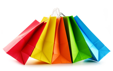 christmas shopping bag: Paper shopping bags isolated on white background.