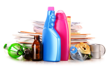 glass bottles: Recyclable garbage consisting of glass, plastic, metal and paper isolated on white background