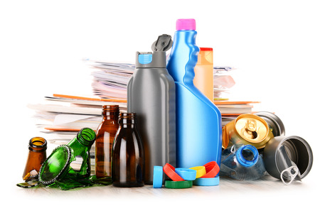 bottleneck: Recyclable garbage consisting of glass, plastic, metal and paper isolated on white background