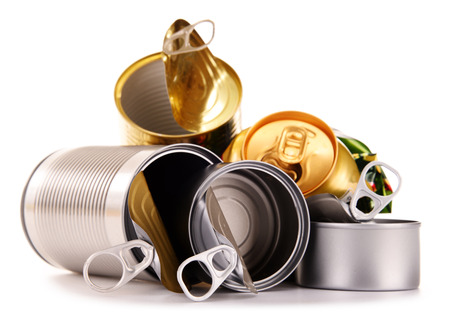scrapyard: Recyclable garbage consisting of metal cans isolated on white background Stock Photo