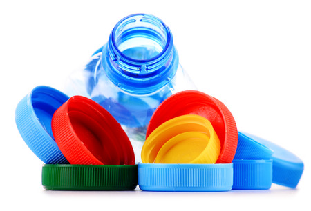 waste products: Composition with plastic bottles and caps.