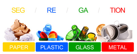 glass paper: Recyclable garbage consisting of glass, plastic, metal and paper isolated on white background