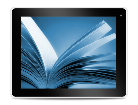 e books: Book on computer tablet screen. Reading online.