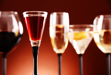 alcoholic beverages: Glasses with assorted alcoholic beverages