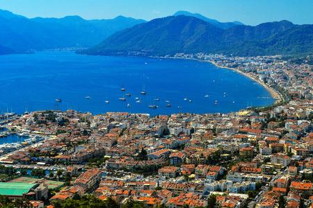 turkey beach: View of Marmaris harbor on Turkish Riviera. Stock Photo