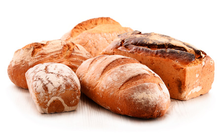 bakery products: Composition with variety of baking products isolated on white