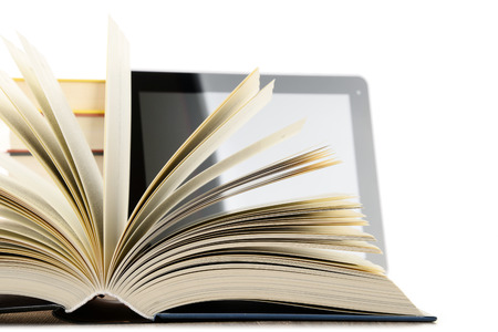 computer isolated: Composition with books and tablet computer isolated on white background