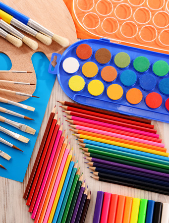 art and craft equipment: Composition with school accessories for painting and drawing.