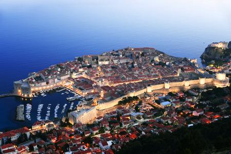 croatia dubrovnik: Aerial view of Dubrovnik, Croatia by night.