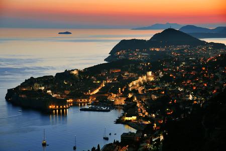 aerial view: Aerial view of Dubrovnik, Croatia by night.