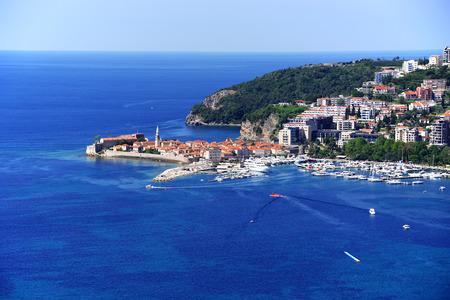 adriatic: Aerial view of Budva, Montenegro on Adriatic coast.