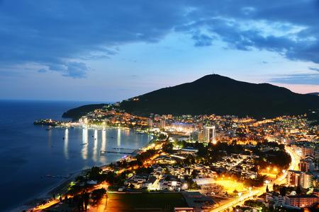 montenegro: Aerial view of Budva, Montenegro on Adriatic coast after sunset. Stock Photo