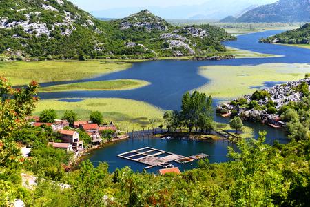 montenegro: Karuc village on Lake Skadar, Montenegro, the largest lake in the Balkan Peninsula. National Park. Stock Photo