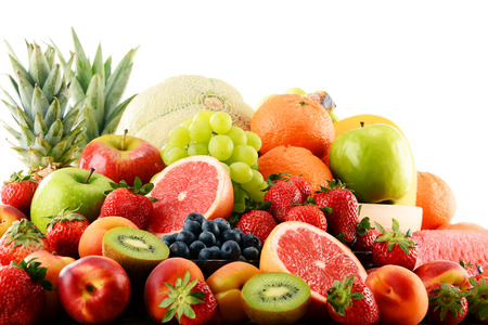 assorted: Composition with assorted fruits isolated on white background