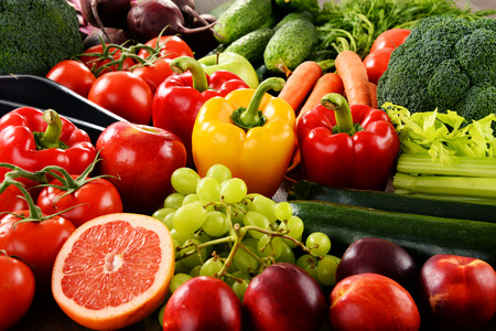 Composition with a variety of organic vegetables and fruits.