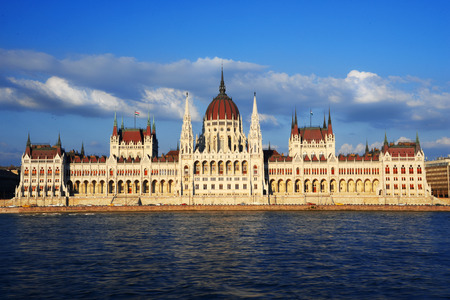 touristic: Hungarian Parliament Building on the bank of the Danube in Budapest.