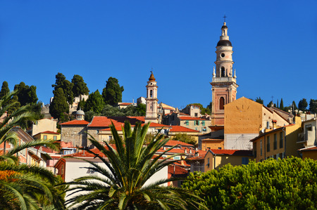 cote d'azure: Old town architecture of Menton on French Riviera Stock Photo