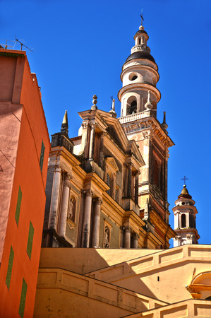 menton: Old town architecture of Menton on French Riviera Stock Photo