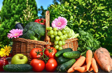 corbeille de fruits: Variété de légumes et de fruits frais bio dans le jardin. Régime équilibré