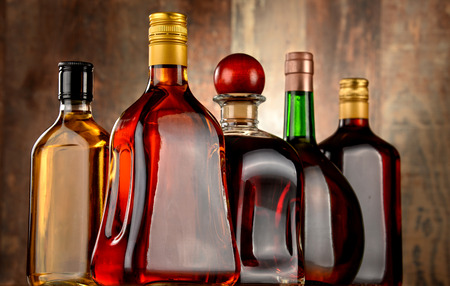 alcohols: Bottles of assorted alcoholic beverages.
