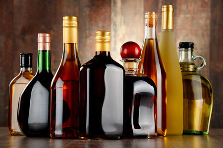 liquors: Bottles of assorted alcoholic beverages.
