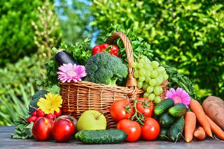 Variété de légumes et de fruits frais bio dans le jardin. Régime équilibré