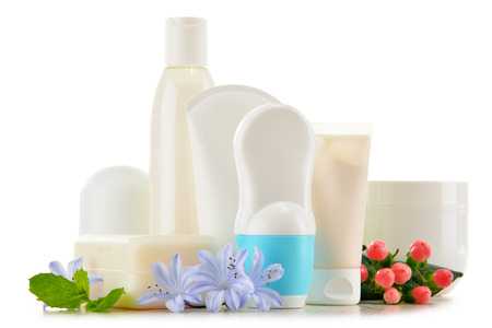 productos naturales: Composition with containers of body care and beauty products. Eco cosmetics. Foto de archivo