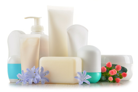 Composition with containers of body care and beauty products. Eco cosmetics. Archivio Fotografico