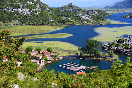 balkan peninsula: Karuc village on Lake Skadar, Montenegro, the largest lake in the Balkan Peninsula. National Park. Stock Photo