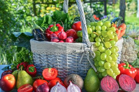 alimentacion balanceada: Verduras orgánicas frescas y frutas en el jardín. Dieta equilibrada