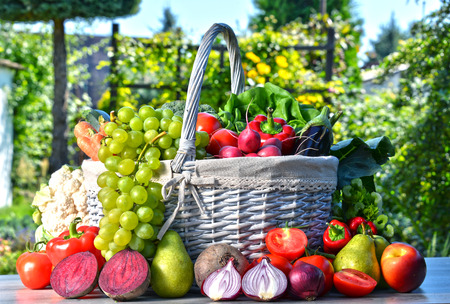 panier fruits: Des légumes biologiques frais et des fruits dans le jardin. Régime équilibré Banque d'images
