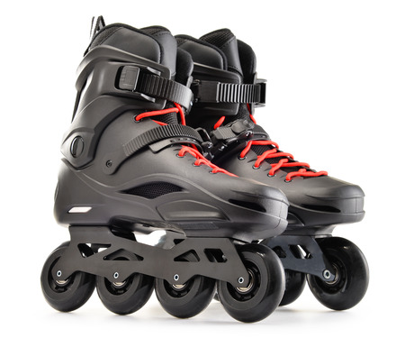rollerblades: Pair of inline skates isolated on white background.