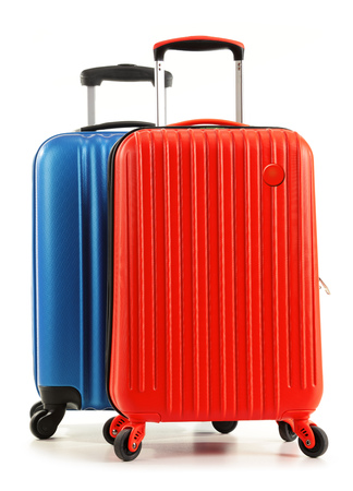 suitcase packing: Travel suitcases isolated on white background.