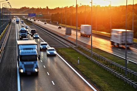 highway traffic: Four lane controlled-access highway in Poland.