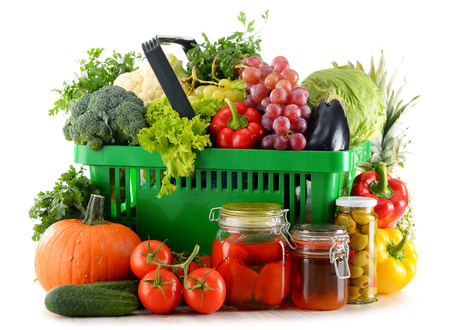 food basket: Composition with organic food isolated on white background. Balanced diet