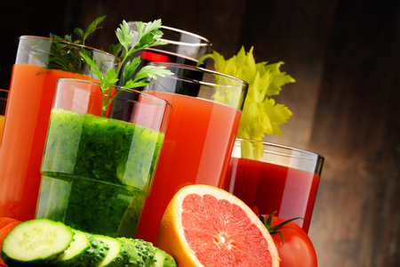 variety: Glasses with fresh organic vegetable and fruit juices. Detox diet Stock Photo