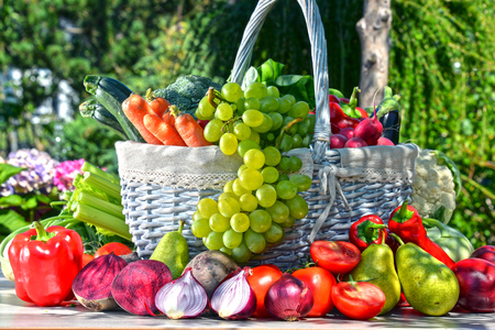 balanced: Fresh organic vegetables and fruits in the garden. Balanced diet