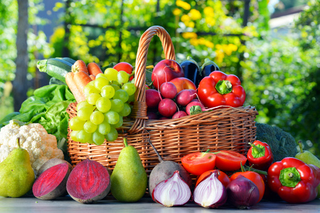 fresh vegetables: Fresh organic vegetables and fruits in the garden. Balanced diet