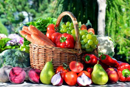 alimentacion equilibrada: Verduras orgánicas frescas y frutas en el jardín. Dieta equilibrada