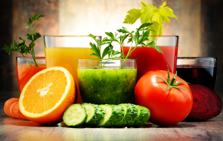 balanced diet: Glasses with fresh organic vegetable and fruit juices. Detox diet Stock Photo