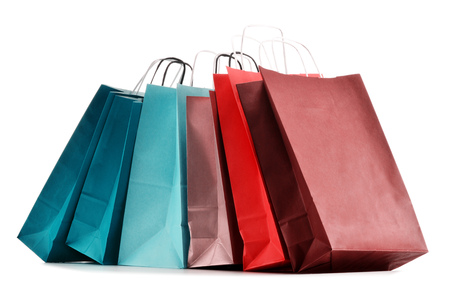 Paper shopping bags isolated on white background Фото со стока