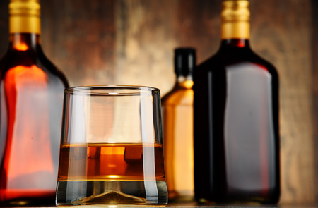 alcoholic beverages: Bottles of assorted alcoholic beverages.