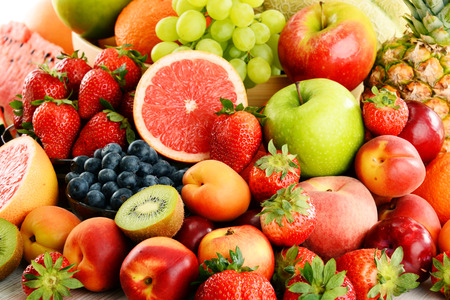 healthy foods: Composition with assorted fruits.