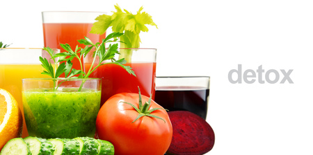 variety: Glasses with fresh organic vegetable and fruit juices isolated on white. Detox diet