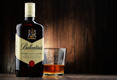 scotch whisky: POZNAN, POLAND - NOVEMBER 4, 2015: Ballantines is the worlds second highest selling scotch whisky, produced by Pernod Ricard in Dumbarton, Scotland Editorial