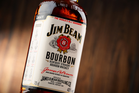 jim: POZNAN, POLAND - NOVEMBER 4, 2015: Jim Beam is one of best selling brands of bourbon in the world, produced by Beam Inc. in Clermont, Kentucky.
