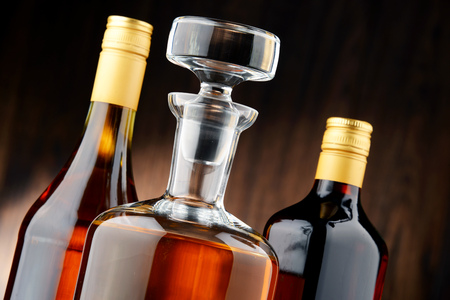 alcoholic drinks: Composition with bottles of assorted alcoholic beverages